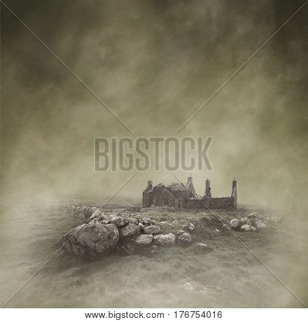 Abandoned, derelict croft in a bleak, misty moorland landscape captured using long exposure, bokeh and other effects with some areas blurred to create a surreal and dreamlike effect.