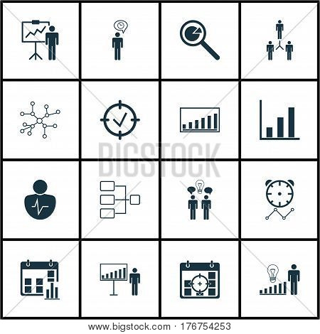 Set Of 16 Executive Icons. Includes Project Targets, Approved Target, Co-Working And Other Symbols. Beautiful Design Elements.