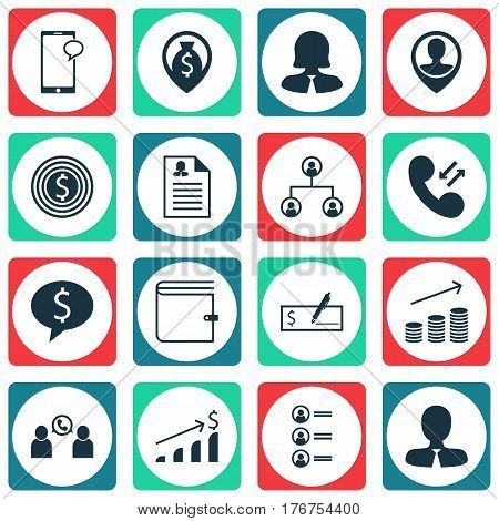 Set Of 16 Human Resources Icons. Includes Phone Conference, Employee Location, Money Navigation And Other Symbols. Beautiful Design Elements.