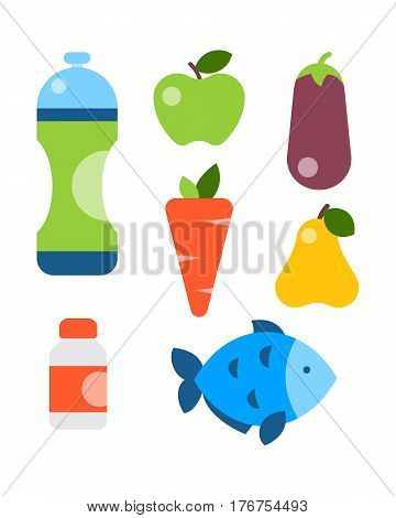 Flat icons set of healthy lifestyle diet food modern design style and nutrition proteins fats carbohydrates balanced cooking culinaryvector illustration. concept vector.