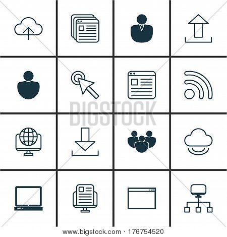 Set Of 16 Web Icons. Includes Blog Page, Login, Website Bookmarks And Other Symbols. Beautiful Design Elements.