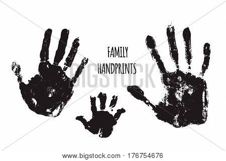 Family handprints vector illustration. Watercolor family handprints of mom dad and child. Social illustration.