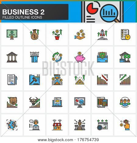 Business finance money line icons set filled outline vector symbol collection linear colorful pictogram pack. Signs logo illustration. Set includes icons as bank bond exchange strategy shop