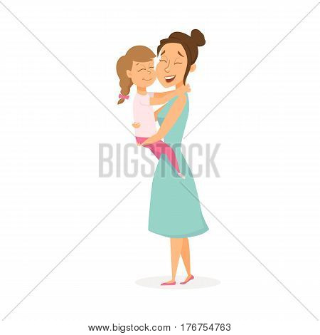 Mother hugs daughter. Mom holding her child on hands and embrace. Happy family. Smiling cute women and girl. Cartoon characters isolated on white