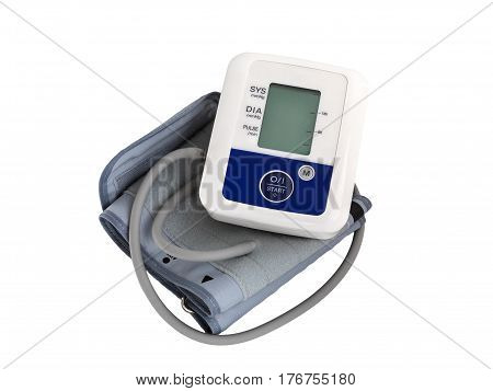 Blood Pressure Monitor on white background. Medical equipment. Tonometer
