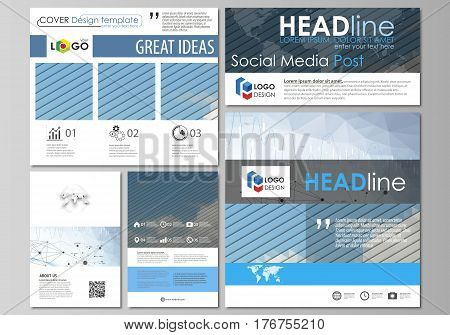 Social media posts set. Business templates. Easy editable abstract flat design template, vector layouts in popular formats. Blue color abstract infographic background in minimalist style made from lines, symbols, charts, diagrams and other elements.