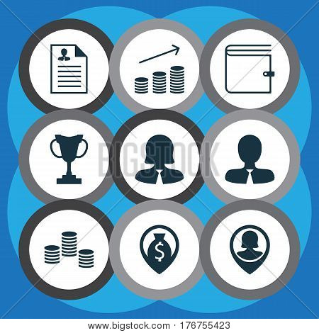 Set Of 9 Hr Icons. Includes Pin Employee, Business Woman, Tournament And Other Symbols. Beautiful Design Elements.