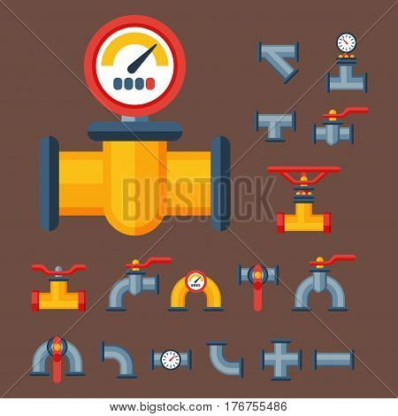 Details pipes different types collection of water tube industry gas valve construction and oil industrial pressure technology plumbing vector illustration. Steel factory engineering.
