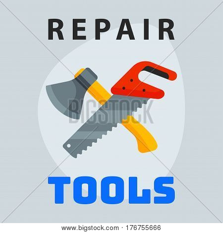 Repair tools hammer trowel icon creative graphic design logo element and service construction work business maintenance equipment vector illustration. Graphic industry mechanic hand instrument.