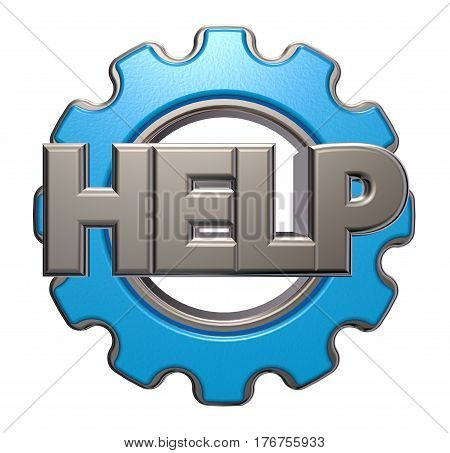 the word help and gear wheel - 3d rendering