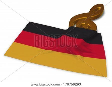 clef symbol and german flag - 3d rendering