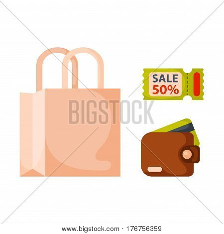 Flat money wallet icon paper bag sale making purchase cash business currency finance payment and purse savings bank commerce dollar economy vector illustration. Success shopping symbol.