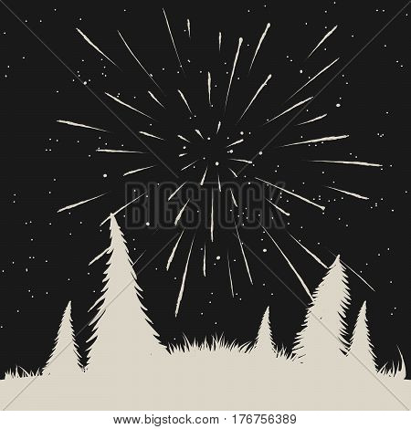 Starfall on night sky in forest.Hand drawn vector illustration