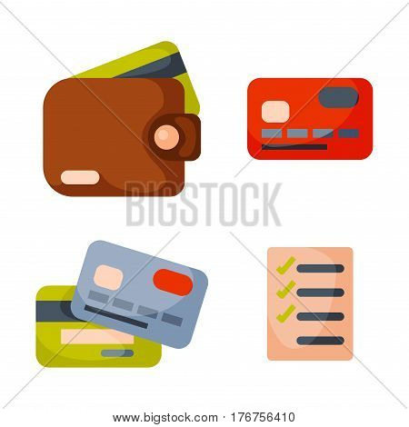 Flat money wallet icon check list making purchase cash business currency finance payment and purse savings bank commerce dollar economy vector illustration. Success shopping symbol.