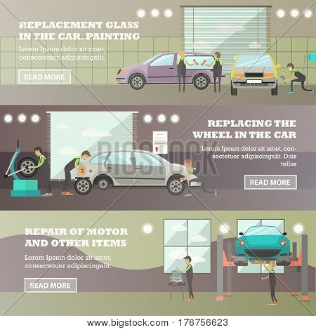 Vector set of machine workroom horizontal banners. Replacement of glass and wheel in the car, painting, Repair of motor and other items flat style design elements.