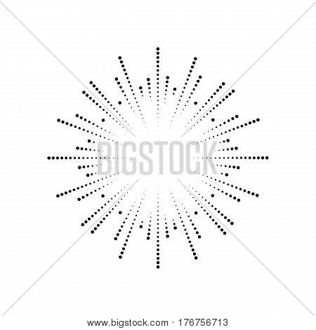 Burst from circles. Abstract dotted surface. Background with colored particles. Retro vintage hipster style