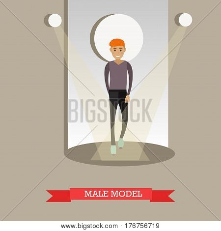 Vector illustration of young man in casual clothes. Stylishly dressed male model concept design element in flat style.