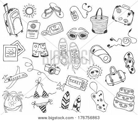 Hand drawn travel, vacation, travel, beach doodle Icons collection on white background. Vector illustration for your design