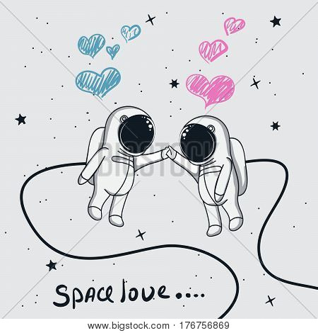 Love story of boy and girl astronauts in space.Cartoon childish vector illustration on white background