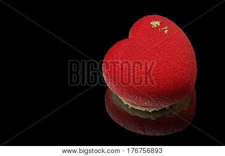 Red Heart Mousse Cake With Golden Sides