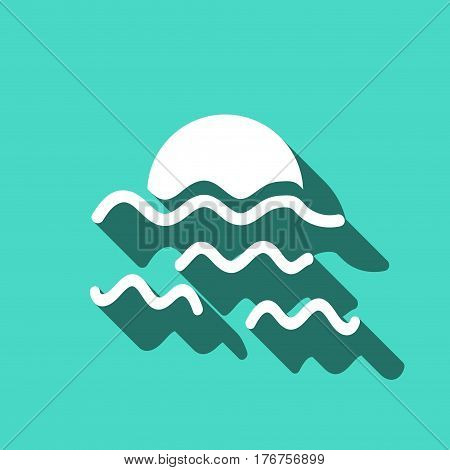 sunset waves icon stock vector illustration flat design