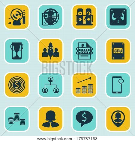 Set Of 16 Human Resources Icons. Includes Female Application, Tree Structure, Employee Location And Other Symbols. Beautiful Design Elements.