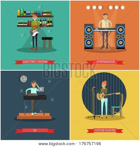 Vector set of musical instruments concept posters. Electric guitar, Guitar player, Synthesizer and DJ flat style design elements.