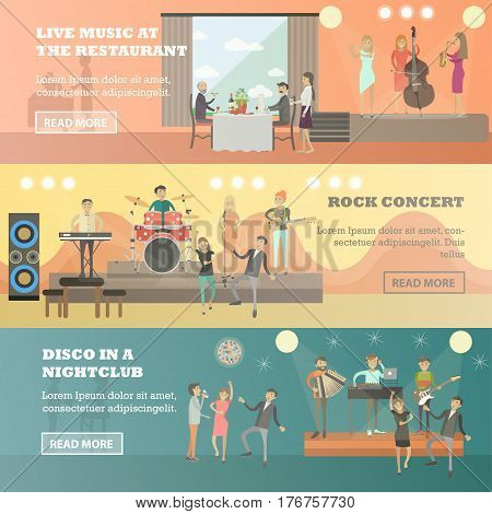 Vector set of musicians concept horizontal banners. Live music at the restaurant, Rock concert and Disco in a nightclub design elements in flat style.