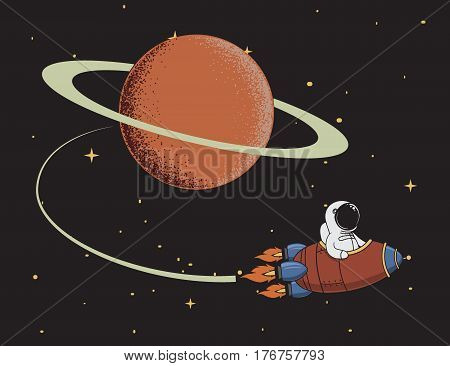 Cute spaceman come back after mission to Saturn. Science color vector illustration