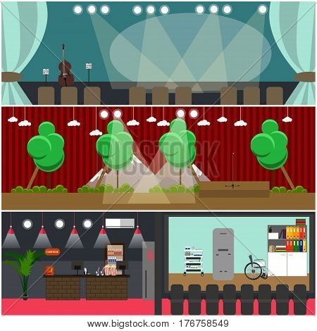 Vector set of opera house and movie theater interior concept posters, banners. Flat style design elements without performers and spectators.