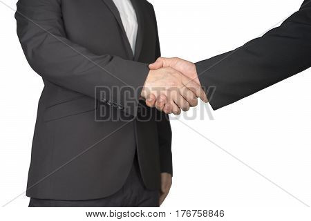 Business people shack hands on white background