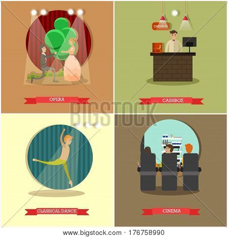 Vector set of performing arts concept posters. Opera, Cashbox, Classical dance and Cinema design elements in flat style.
