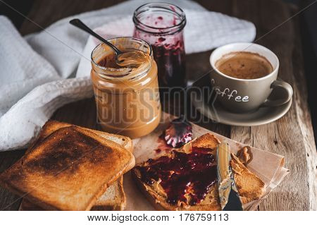 Peanut Butter With Jam And Rustic Dough. Peanut Butter And Jelly
