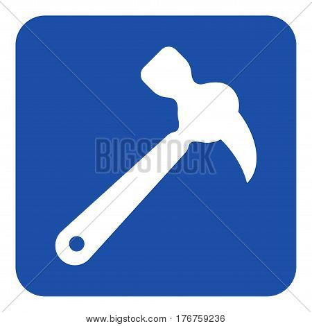 blue rounded square information road sign with white claw hammer icon