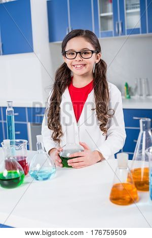 Little Girl In Chemical Laboratory