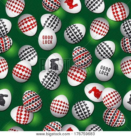 Seamless green gambling background with red and black symbols over easter eggs vector illustration. Ideal for printing onto fabric and paper or scrap booking.