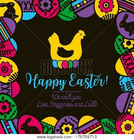 Frame with color easter eggs on black background flowers and rabbit. Ideal for printing onto fabric and paper or scrap booking vector illustration