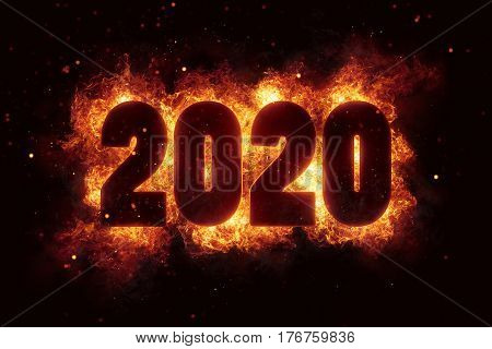 new year 2020 flames fire explosion explode text