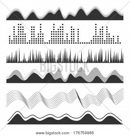 Music Sound Waves Pulse Abstract Vector. Digital Frequency Track Equalizer