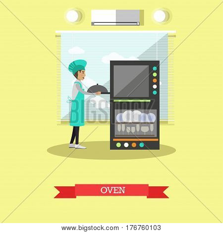 Vector illustration of cook male putting meal into the oven. Restaurant kitchen oven flat style design element.