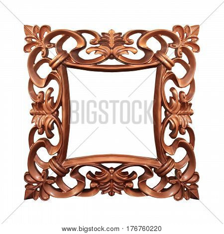 Bronze vintage square frame isolated with clipping path included