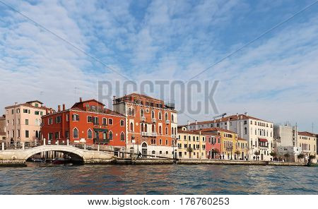 Old Gothic houses architecture on Venice canal