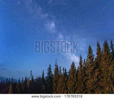 Milky way over and stars over a forest with mountain range at the background. Camping under the stars