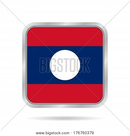 National flag of Laos. Shiny metallic gray square button with shadow.