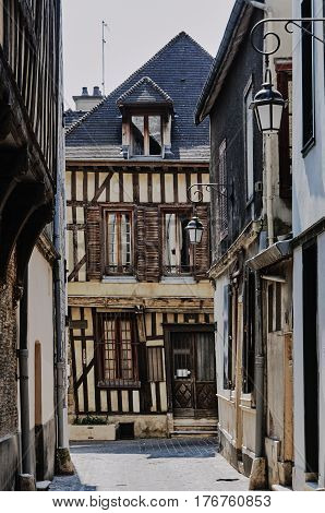tenement houses in old town of Troyes France