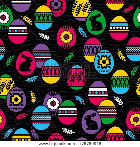 Seamless black background with color easter eggs flowers and rabbit. Ideal for printing onto fabric and paper or scrap booking vector illustration