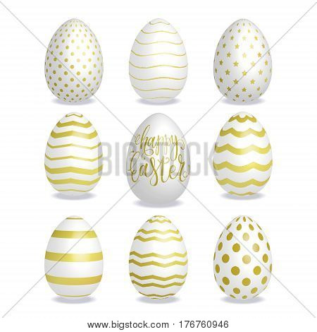 A set of 3D Easter eggs. Happy Easter lettering. Realistic Easter eggs with golden stripped ornamental patterns. Vector illustration.