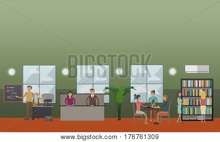 Vector illustration of university or college classroom, lecture hall and library interior with teachers and students. Flat style design elements.
