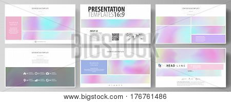Business templates in HD format for presentation slides. Easy editable abstract vector layouts in flat design. Hologram, background in pastel colors with holographic effect. Blurred colorful pattern, futuristic surreal texture.