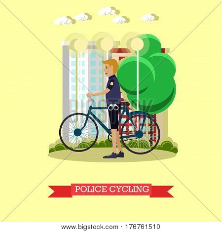 Vector illustration of policeman with city bicycle. Police inspector patrolling street design element in flat style.